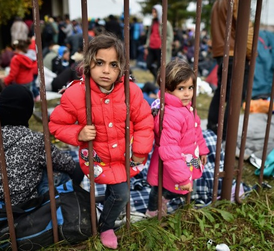 Refugee children in Slovenia, photographed on October 22, 2015 (Photo: Jeff J Mitchell/Getty Images).