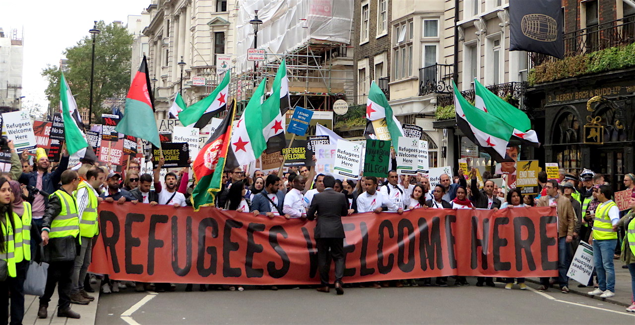 Refugees Welcome Here: the march in London on September 17, 2016 (Photo: Andy Worthington).