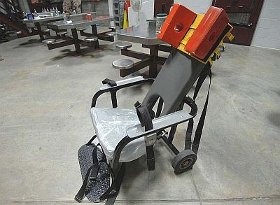 One of the restraint chairs used for force-feeding prisoners in Guantanamo