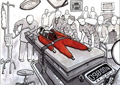 A hallucinatory image of force-feeding at Guantanamo by Sami al-Haj, as reproduced by British artist Lewis Peake in 2008, based on a drawing by Sami that the Pentagon censors refused to allow the public to see. The drawing, one of a series of five, was commissioned by Sami's lawyers at Reprieve, the London-based legal action charity.