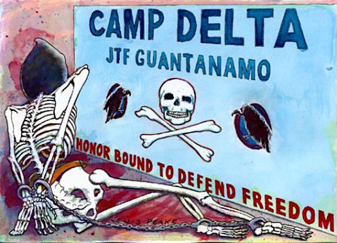 An image of Guantanamo by Sami al-Haj, as reproduced by British artist Lewis Peake in 2008, based on a drawing by Sami that the Pentagon censors refused to allow the public to see. The drawing, one of a series of five, was commissioned by Sami's lawyers at the lawyer-led international human rights organization Reprieve.