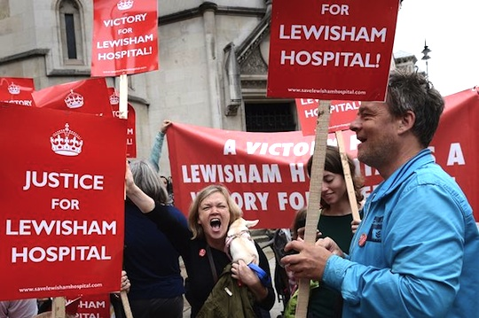 Save Lewisham Hospital cmapaigners celebrate victory outside the High Court on July 31, 2013 (Photo: PA).