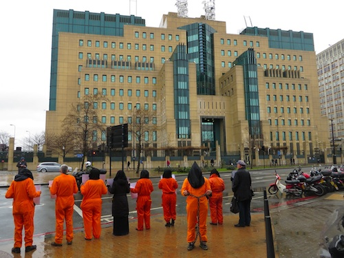 A protest organized by the Save Shaker Aamer Campaign outside MI6 headquarters on February 14, 2014, the 12th anniversary of the arrival at Guantanmao of Shaker Aamer, the ast British resident in the prison (Photo: Andy Worthington).
