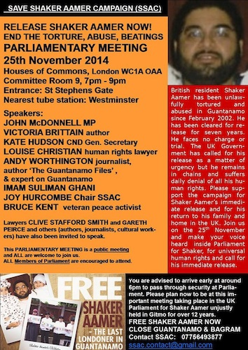 The Save Shaker Aamer Campaign's poster for the Parliamentary Meeting for Shaker Aamer, organised by John McDonnell MP on November 25, 2014.