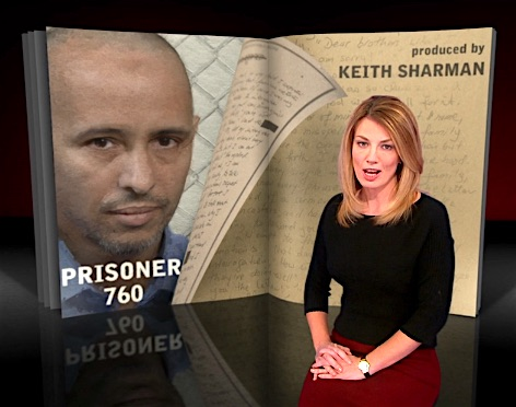 "A screenshot from ""Prisoner 760,"" 60 Minutes' interview with Mohamedou Ould Slahi."