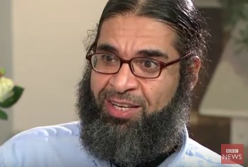 Shaker Aamer, in a screenshot from his interview with the BBC, broadcast on December 14, 2015.