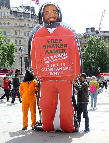 A giant inflatable figure of Shaker Aamer, the last British resident in Guantanamo, which was brought along by supporters to the day of action on Guantanamo in Trafalgar Square on May 23, 2014, as part of a global day of action on Guantanamo. The figure later became the centrepiece of the We Stand With Shaker campaign, launched in November 2014 (Photo: Andy Worthington).