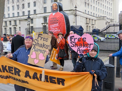 Campaigners call for the release from Guantanamo of Shaker Aamer, the last British resident in the prison, opposite 10 Downing Street on February 14, 2015, the 13th anniversary of his arrival at the prison (Photo: Andy Worthington).