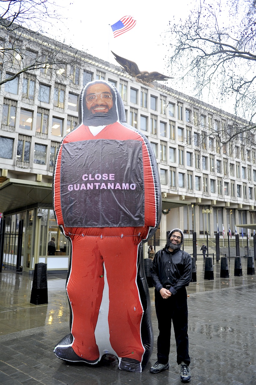 A historic moment: Former Guantanamo prisoner Shaker Aamer photographed outside the US Embassy on January 7, 2015 with the inflatable figure of himself that was at the heart of the We Stand With Shaker campaign for his release (Photo: Stefano Massimo).