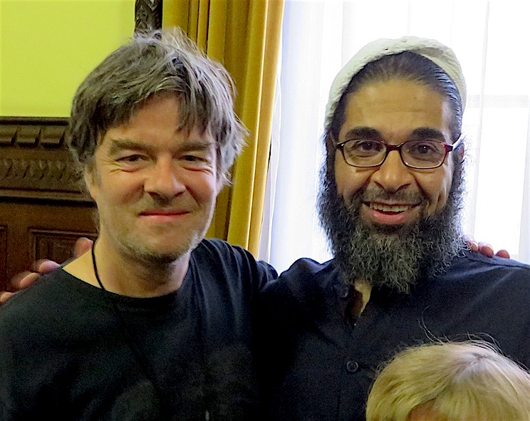 Shaker Aamer and Andy Worthington, photographed together shortly after meeting for the first time in November 2015.
