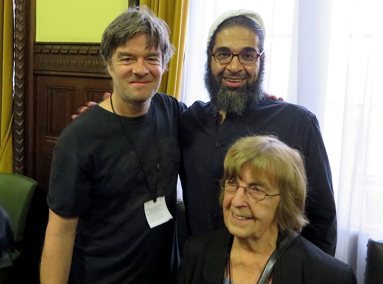 Shaker Aamer with Andy Worthington and Joy Hurcombe, the chair of the Save Shaker Aamer Campaign, at a meeting in the Houses of Parliament on November 17, 2015.