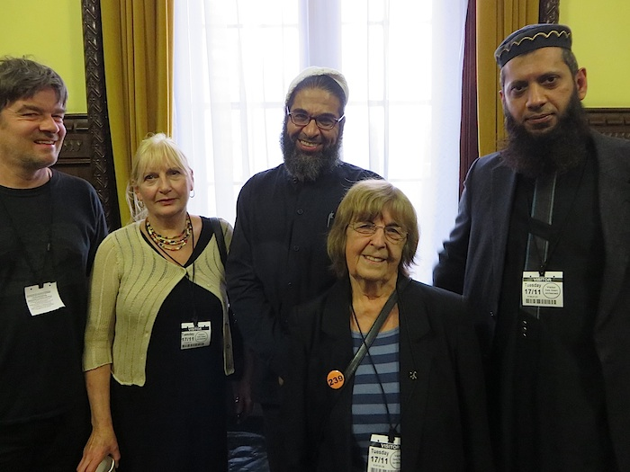 Shaker Aamer after his release from Guantanamo at a meeting in the Houses of Parliament on November 17 with, from L to R, Andy Worthington, Patricia Sheerin-Richman and Joy Hurcombe of the Save Shaker Aamer Campaign, and the broadcaster and teacher Suliman Gani.