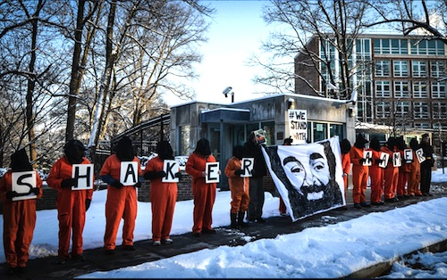 Campaigners with Witness Against Torture show their support for Shaker Aamer in an action outside the British Embassy in Washington D.C. in January 2015.