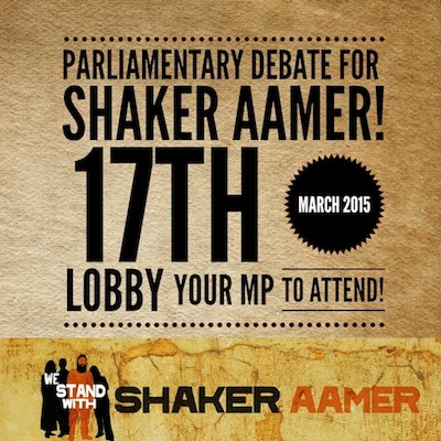 An image promoting the Parliamentary debate for Shaker Aamer on March 17, 2015.