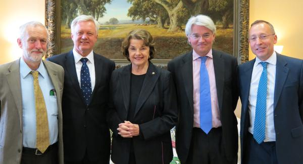 Sen. Dianne Feinstein meets the delegation of British MPs who traveled to Washington, D.C. last month to call for Shaker Aamer's release from Guantanamo. From L to R: Jeremy Corbyn, David Davis, Dianne Feinstein, Andrew Mitchell and Andy Slaughter.