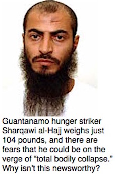 Guantanamo prisoner Sharqawi al-Hajj and some text summarizing his predicament in September 2017.