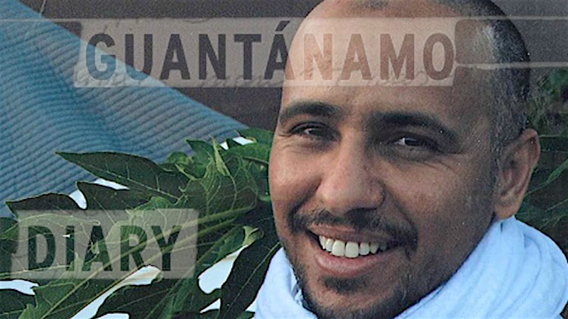 A poster promoting Guantanamo prisoner Mohamedou Ould Slahi's book, the best-selling Guantanamo Diary.