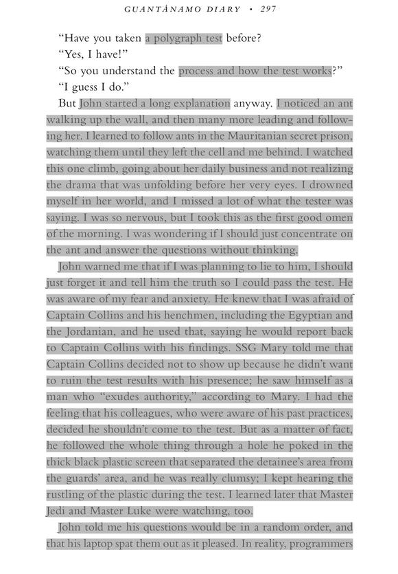 "A previously censored page from Mohamedou Ould Slahi's memoir, ""Guantanamo Diary"""