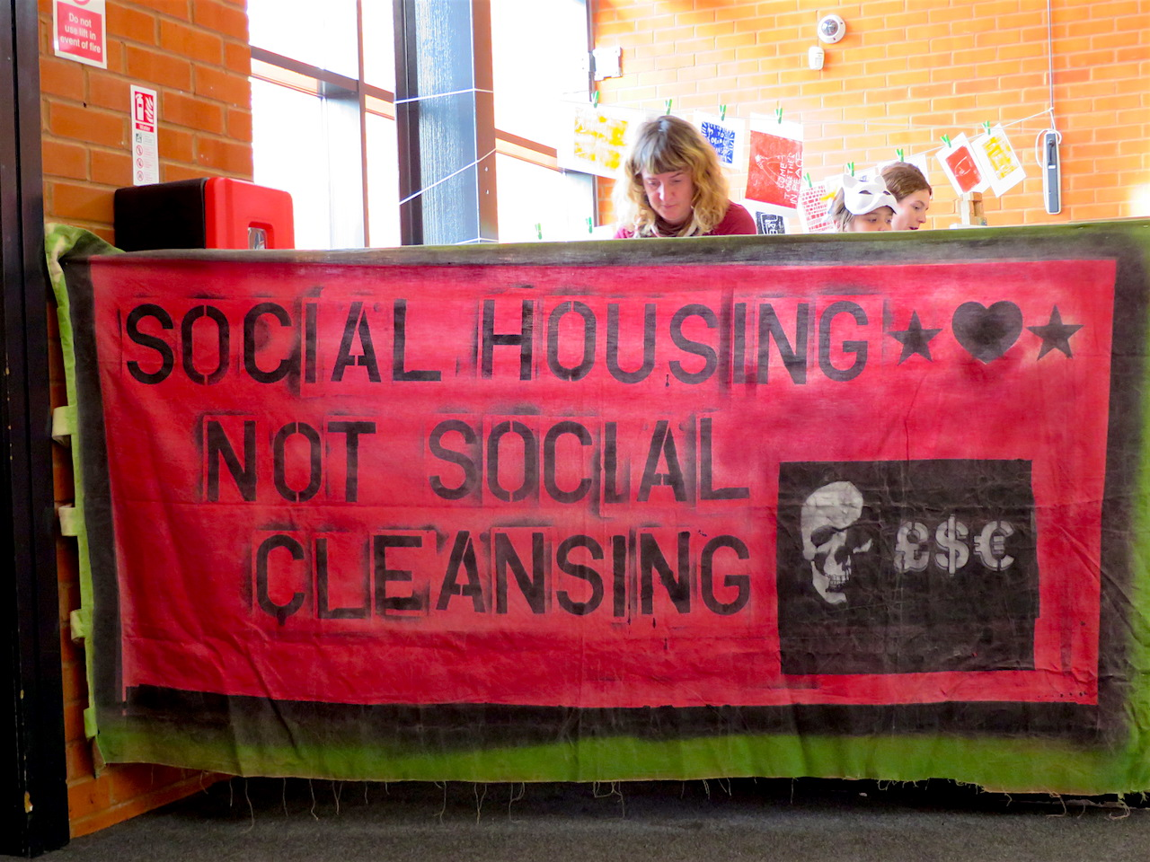 A banner in defence of social housing at the Anarchist Bookfair in Tottenham on October 28, 2017 (Photo: Andy Worthington).