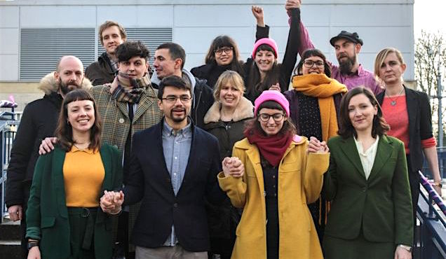The Stansted 15 on Wednesday February 6, 2019, outside Chelmsford Crown Court, on the day they learned that no one would face a custodial sentence for their role in preventing a deportation flight from leaving the airport in March 2017.