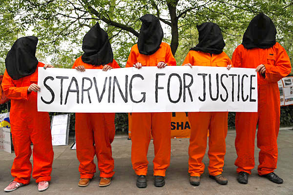 Starving for justice: protestors outside the US Embassy in London in 2013, during the prison-wide hunger strike that year.