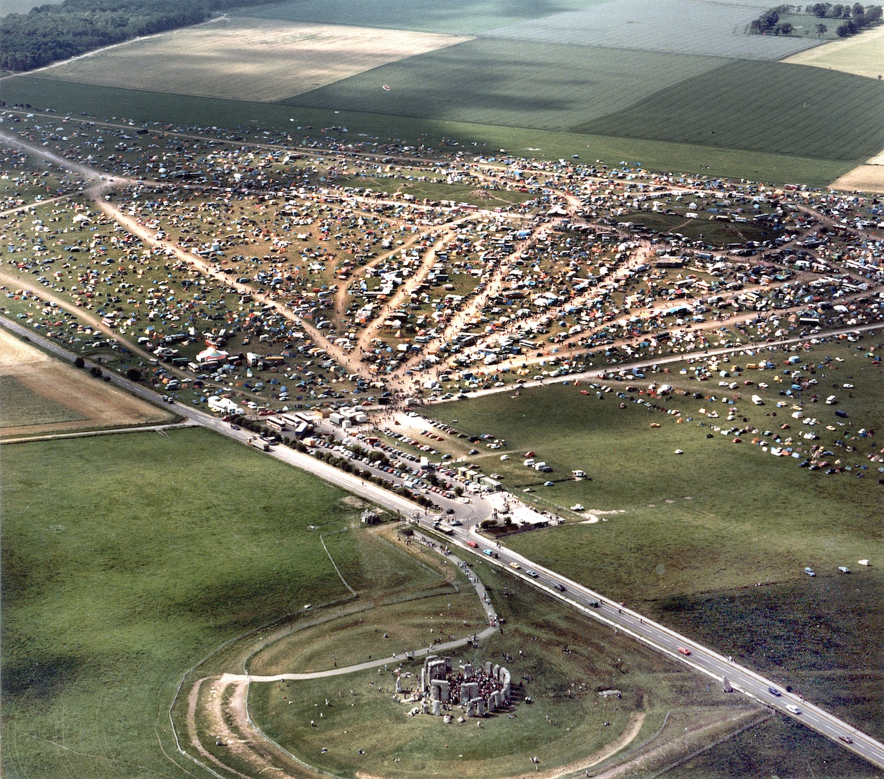 An aerial view of the Stonehenge Free Festival in 1984, liberated from the police during the subsequent trial.