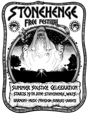 Roger Hutchinson's poster for the second Stonehenge Free Festival, 1975