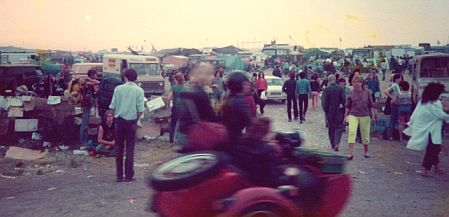 The main drag at the Stonehenge Free Festival, 1984