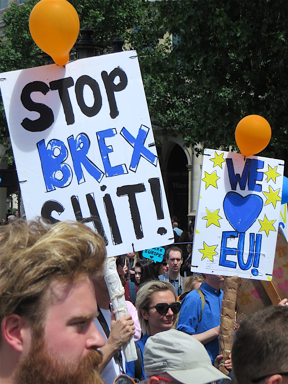 Stop-Brex-sh*t: a placard from the March for Europe in London on July 2, 2016 (Photo: Andy Worthington).