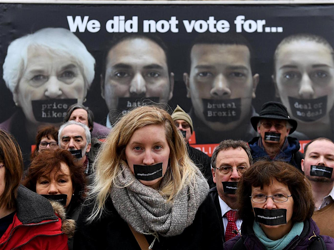 "Campaigners for a new initiative, Stop the Silence, launch a new nationwide poster campaign urging the Lords to vote for amendments to the Article 50 bill, and for the public to resist the ""hard Brexit"" aggressively promoted by Theresa May (Photo: EPA)."