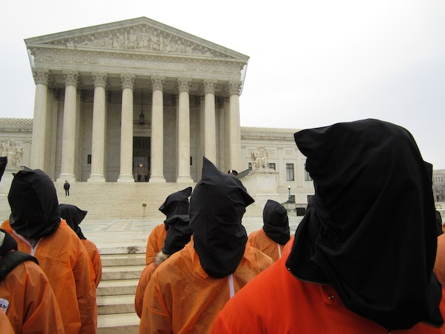 Campaigners for the closure of Guantanamo outside the US Supreme Court on January 11, 2012, the 10th anniversary of the opening of the prison (Photo: Andy Worthington).