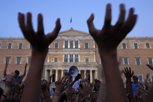 Anti-austerity protestors in Syntagma Square in Athens, Greece in 2011.