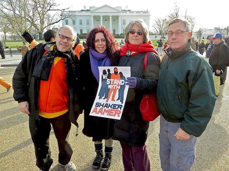 Cat Watters, activist and broadcaster, and Debra Sweet of the World Can't Wait with blogger the Talking Dog and Todd Pierce, former military defense attorney in the military commissions at Guantanamo, outside the White House on January 11, 2015, the 13th anniversary of the opening of the prison (Photo: Andy Worthington).