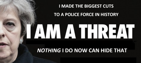 A poster promoting Theresa May as a threat, an adaptation of a billboard campaign, via the Vox Political website.
