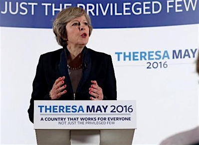 Theresa May, Britain's Prime Minister, making her first speech as PM. I slightly edited the banner behind her.