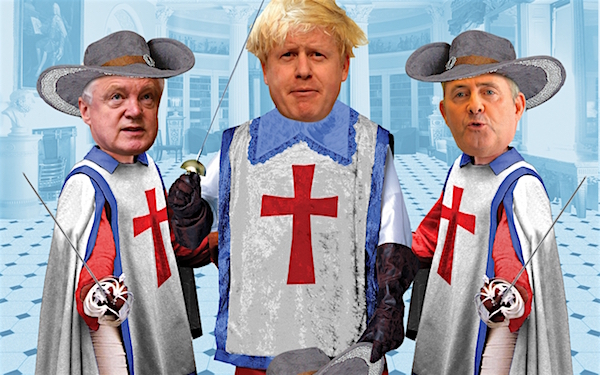 The Three Brexiteers: David Davis, Boris Johnson and Liam Fox as seen by Miles Cole for the New Statesman.