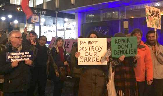 Campaigners with the Save Reginald Save Tidemill campaign outside Lewisham Council's HQ in Catford on November 28, 2018 (Photo: Bridie Witton).