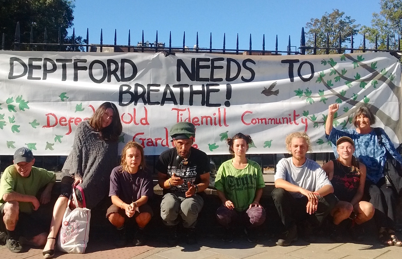 Save Reginald Save Tidemill campaigners at Bromley County Court on Thursday September 27, 2018.