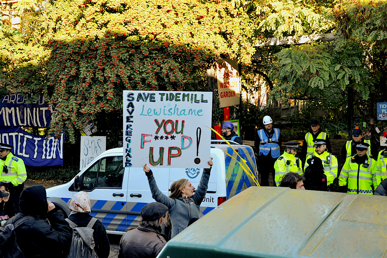 A photo by Anita Strasser of th eviction of the Old Tidemill Wildlife Garden in Deptford on October 29, 2018.