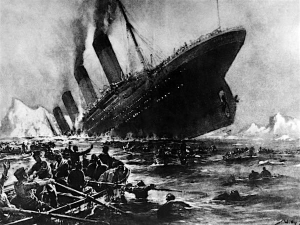 A drawing of the Titanic sinking in 1912.