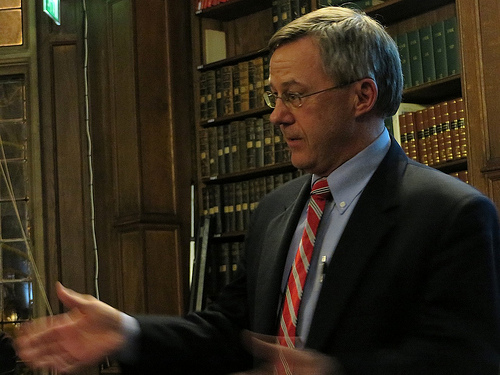 Former US military defense attorney Todd Pierce speaking at the presentation of the Sam Adams Associates Award for Integrity in Intelligence to Chelsea Manning in Oxford in February 2014 (Photo: Andy Worthington).