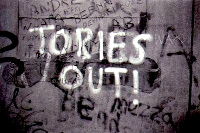 """Tories out"" graffiti."