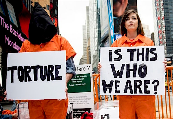 An undated photo of anti-torture (and anti-Guantanamo) protestors in New York City.