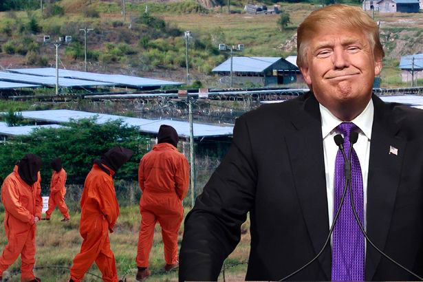 "A composite image of Donald Trump and Guantanamo, created after his comments last year about keeping Guantanamo open and filling it up with ""bad dudes."""