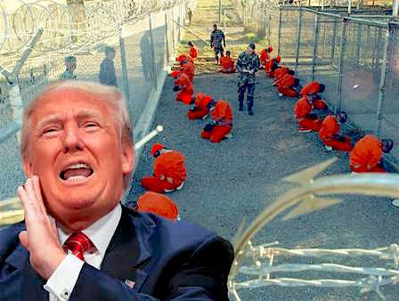 A collage of images of Donald Trump and Guantanamo on its first day back in January 2002.