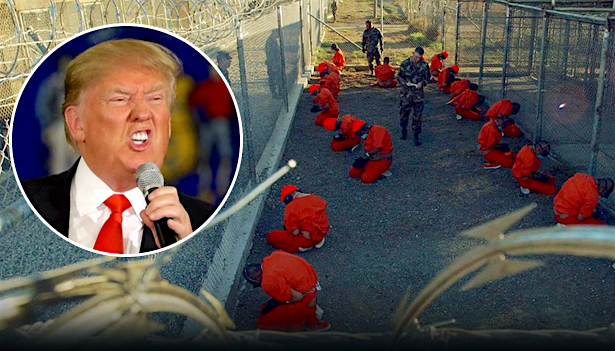 A collage of Donald Trump and Guantanamo prisoners on the first day of the prison's operations, January 11, 2002.