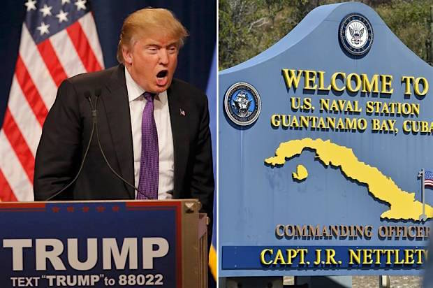 Donald Trump and a sign at Guantanamo Bay.