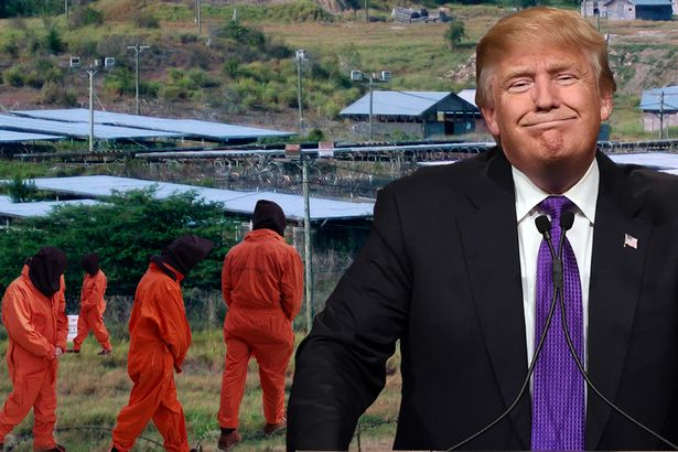 A composite image of Donald Trump and Guantanamo.