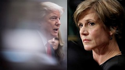 Donald Trump and Sally Yates, the Acting Attorney General who he has sacked after she refused to cooperate with his disgraceful immigration ban.