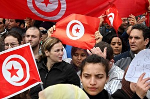 Protestors in Tunisia